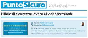 PuntoSicuro - Pillole di sicurezza: lavoro al videoterminale