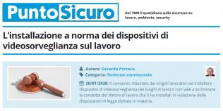 PuntoSicuro - L'installazione a norma dei dispositivi di videosorveglianza sul lavoro