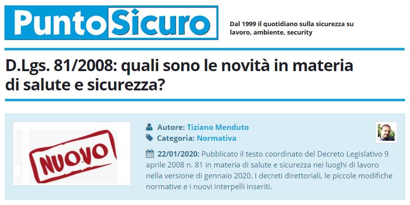 PuntoSicuro - D.Lgs. 81/2008: quali sono le novità in materia di salute e sicurezza?