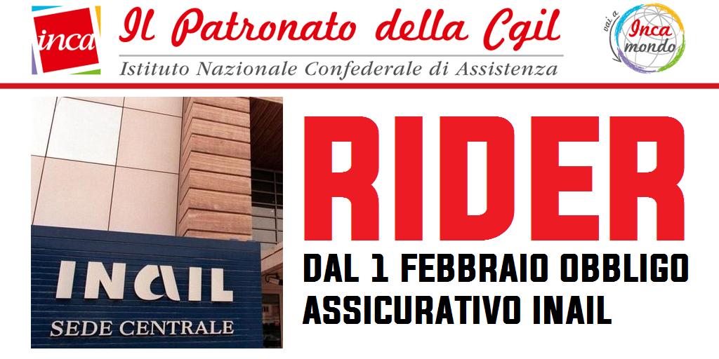 Patronato Inca Cgil nazionale - Rider: dal 1° febbraio obbligo assicurativo Inail
