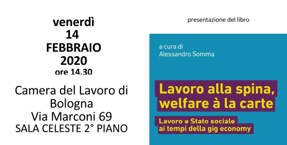 Presentazione del libro Lavoro alla spina, welfare à la carte, 14.2.20 Bologna