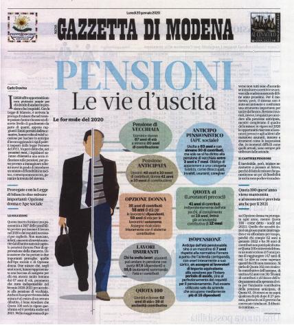 pensioni gazzetta 20.1.20