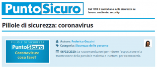 PuntoSicuro - Pillole di sicurezza: coronavirus
