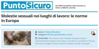 PuntoSicuro - Molestie sessuali nei luoghi di lavoro: le norme in Europa
