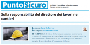 PuntoSicuro - Sulla responsabilità del direttore dei lavori nei cantieri