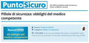 PuntoSicuro - Pillole di sicurezza: obblighi del medico competente