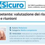 PuntoSicuro - Medico competente: valutazione dei rischi, sopralluoghi e riunioni