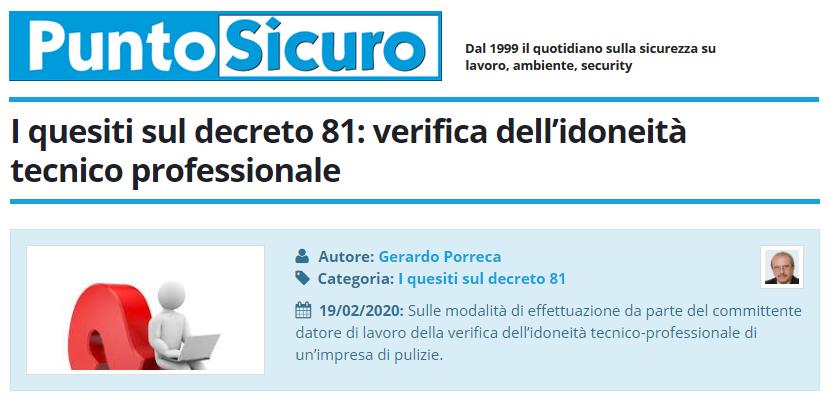 PuntoSicuro - I quesiti sul decreto 81: verifica dell'idoneità tecnico professionale