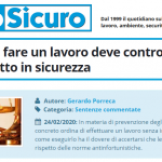 PuntoSicuro - Chi ordina di fare un lavoro deve controllare che venga fatto in sicurezza