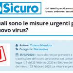PuntoSicuro - COVID-19: quali sono le misure urgenti per fermare il nuovo virus?