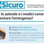 PuntoSicuro - Coronavirus: le aziende e i medici come possono affrontare l'emergenza?