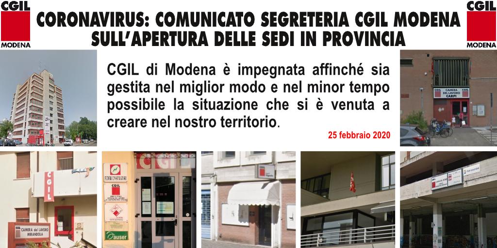 Coronavirus - Comunicato Segreteria Cgil Modena aperture sedi