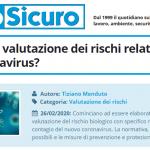 PuntoSicuro - Come fare la valutazione dei rischi relativi al nuovo coronavirus?