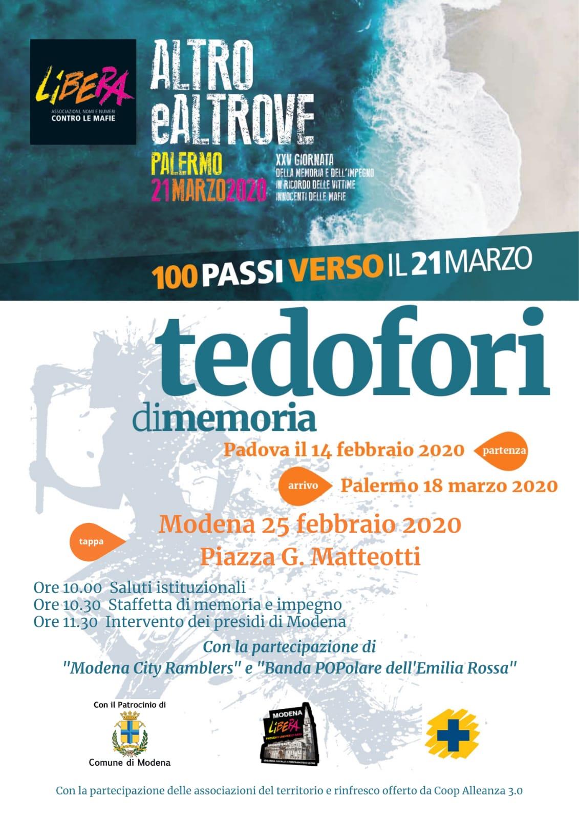 25 febbraio a Modena tedofori di memoria 100 passi verso il 21 marzo