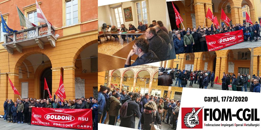 Sciopero e presidio lavoratori Goldoni Arbos davanti al Municipio di Carpi - 17/2/2020