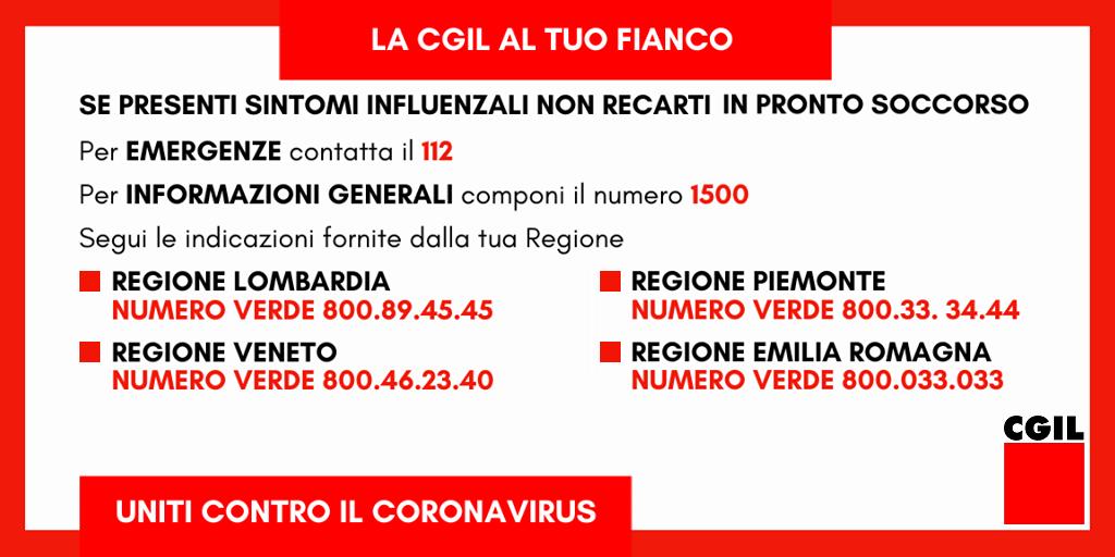 Coronavirus - Numeri Verde regioni Lombardia, Veneto, Piemonte, Emilia-Romagna