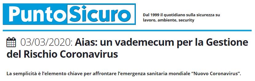 PuntoSicuro - Aias: un vademecum per la Gestione del Rischio Coronavirus