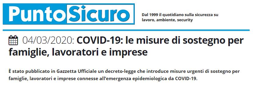 PuntoSicuro - COVID-19: le misure di sostegno per famiglie, lavoratori e imprese