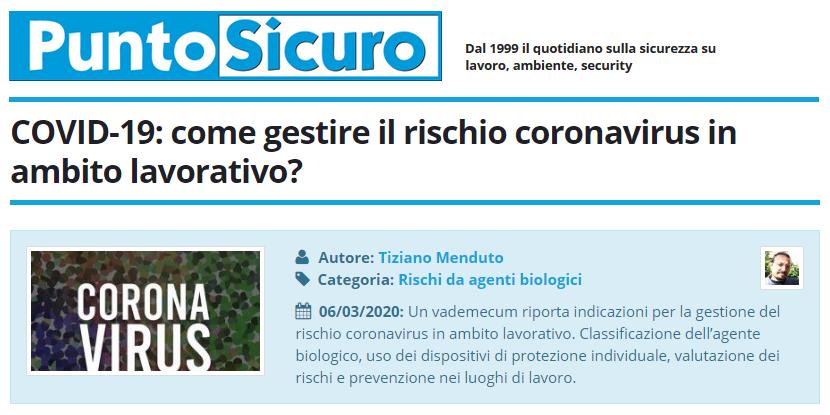 PuntoSicuro - COVID-19: come gestire il rischio coronavirus in ambito lavorativo?