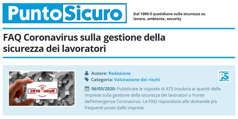PuntoSicuro - FAQ Coronavirus sulla gestione della sicurezza dei lavoratori