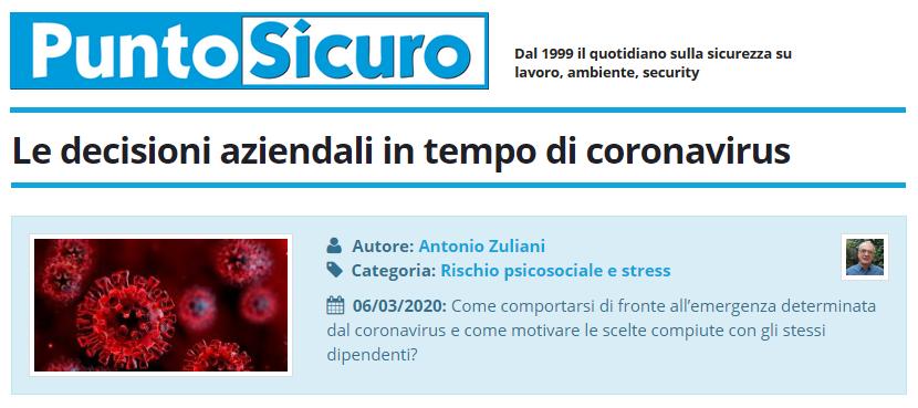 PuntoSicuro - Le decisioni aziendali in tempo di coronavirus