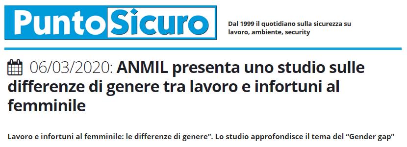 PuntoSicuro - ANMIL presenta uno studio sulle differenze di genere tra lavoro e infortuni al femminile