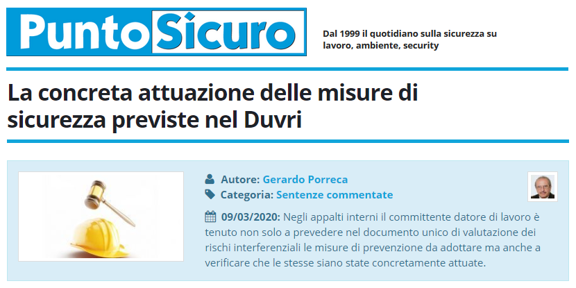 PuntoSicuro - La concreta attuazione delle misure di sicurezza previste nel Duvri