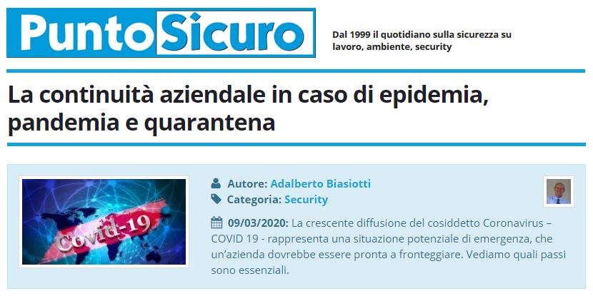 PuntoSicuro - La continuità aziendale in caso di epidemia, pandemia e quarantena