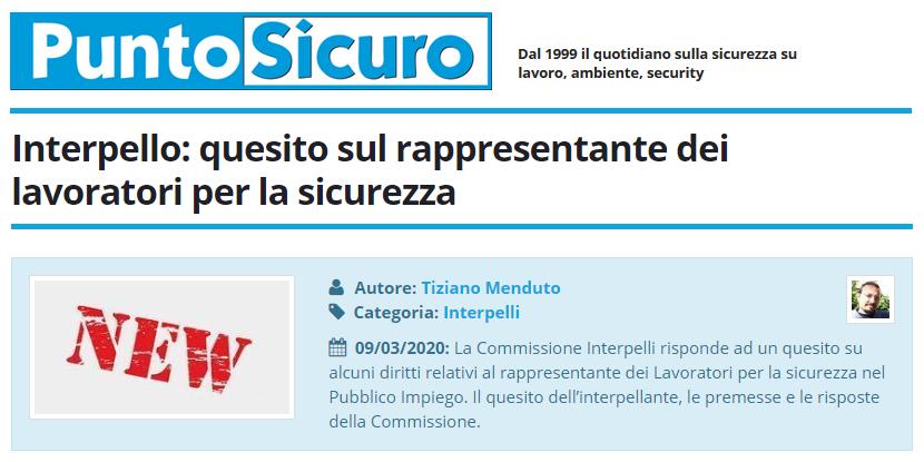PuntoSicuro - Interpello: quesito sul rappresentante dei lavoratori per la sicurezza