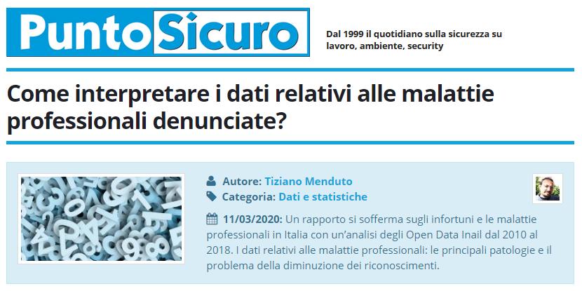 PuntoSicuro - Come interpretare i dati relativi alle malattie professionali denunciate?