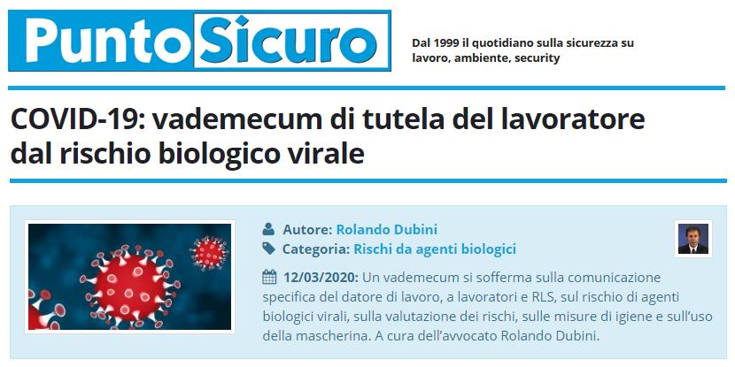 PuntoSicuro - COVID-19: vademecum di tutela del lavoratore dal rischio biologico virale