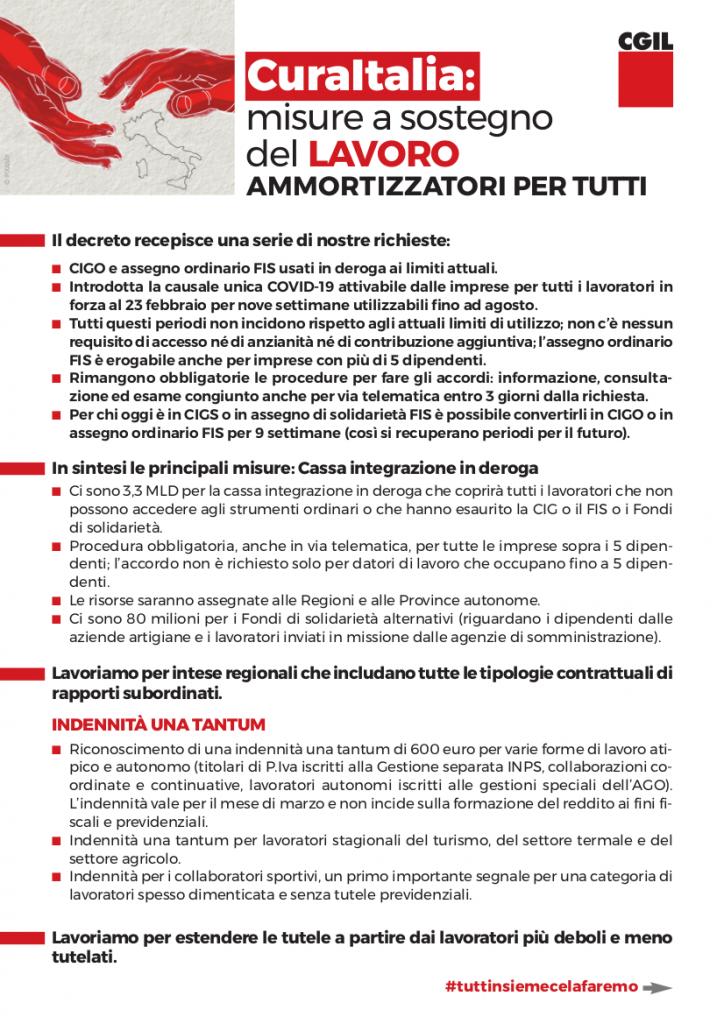 Cura Italia: misure a sostegno del lavoro