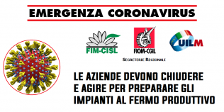 Emergenza Coronavirus - Le aziende debbono agire per mettere in sicurezza gli impianti e, se confermato poi dal decreto, prepararsi per il fermo produttivo