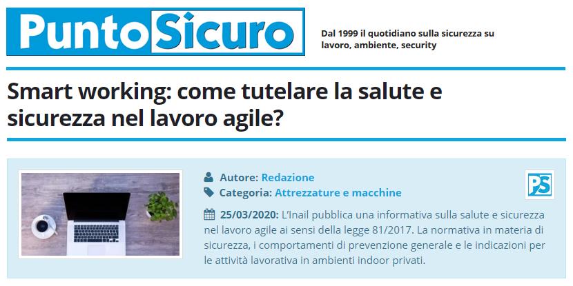 PuntoSicuro - Smart working: come tutelare la salute e sicurezza nel lavoro agile?