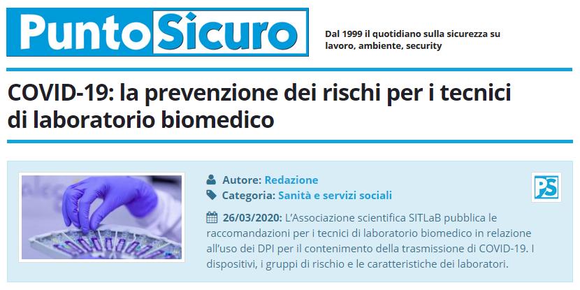 PuntoSicuro - COVID-19: la prevenzione dei rischi per i tecnici di laboratorio biomedico