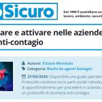 PuntoSicuro - Come realizzare e attivare nelle aziende un protocollo anti-contagio