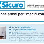 PuntoSicuro - COVID-19: buone prassi per i medici competenti in azienda