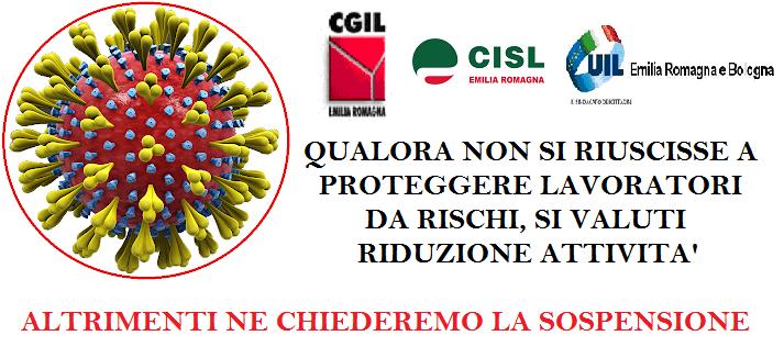 coronavirus protezione lavoratori da rischi Cgil Cisl Uil ER BANNER