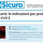 PuntoSicuro - Attività sanitarie: le indicazioni per proteggersi al virus SARS-CoV-2