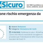 PuntoSicuro - INL: valutazione rischio emergenza da Coronavirus
