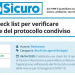 PuntoSicuro - COVID-19: check list per verificare l'applicazione del protocollo condiviso