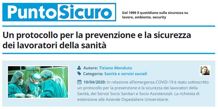PuntoSicuro - Un protocollo per la prevenzione e la sicurezza dei lavoratori della sanità