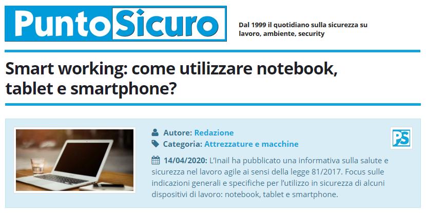 PuntoSicuro - Smart working: come utilizzare notebook, tablet e smartphone?