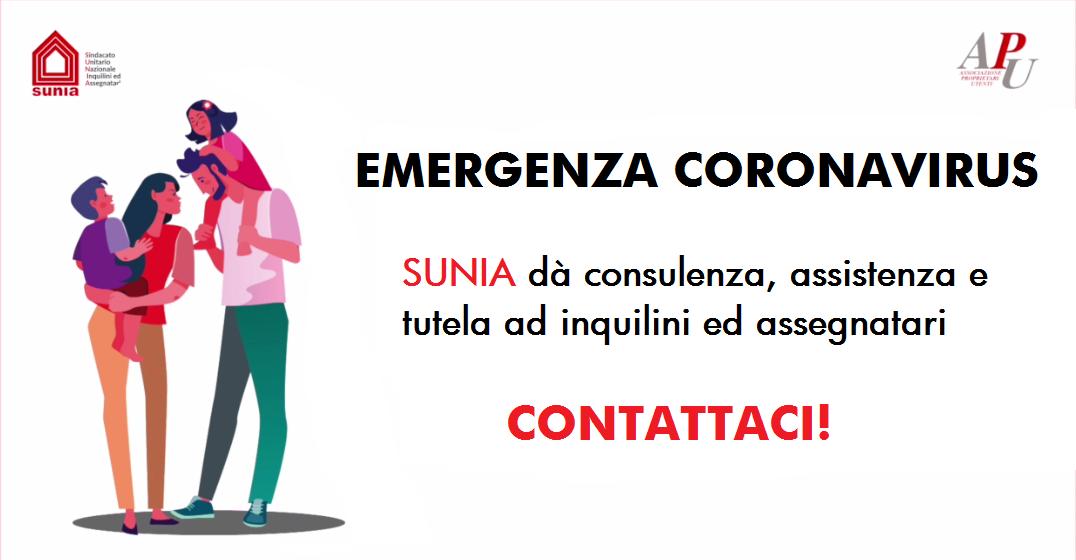 Emergenza Coronavirus - Sunia assiste inquilini e proprietari