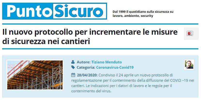 PuntoSicuro - Il nuovo protocollo per incrementare le misure di sicurezza nei cantieri