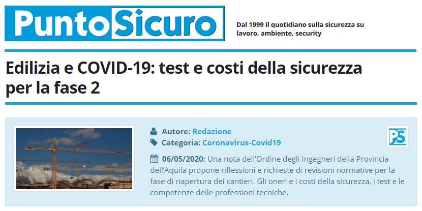 PuntoSicuro - Edilizia e COVID-19: test e costi della sicurezza per la fase 2