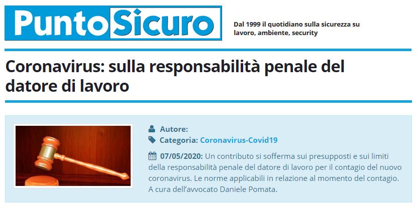 PuntoSicuro - Coronavirus: sulla responsabilità penale del datore di lavoro