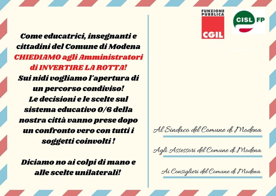 Piovono cartoline! Mail bombing per nidi Comune di Modena