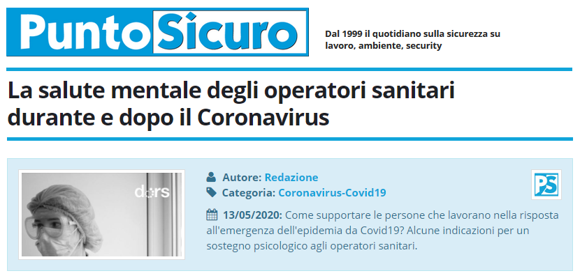 PuntoSicuro - La salute mentale degli operatori sanitari durante e dopo il Coronavirus