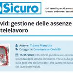 PuntoSicuro - Fase 2 del Covid: gestione delle assenze e dei lavoratori in telelavoro